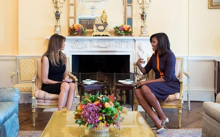 Michelle Obama and Melania Trump pictured together at White House
