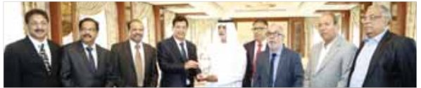 Trichur Chamber of Commerce presenting a momento to Sheikh Nahyan Bin Mubarak Al Nahyan